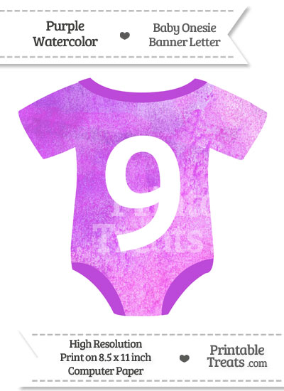 Purple Watercolor Baby Onesie Shaped Banner Number 9 from PrintableTreats.com
