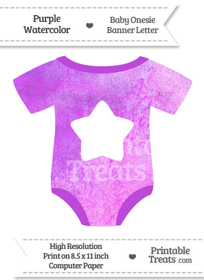 Purple Watercolor Baby Onesie Shaped Banner Star End Flag from PrintableTreats.com
