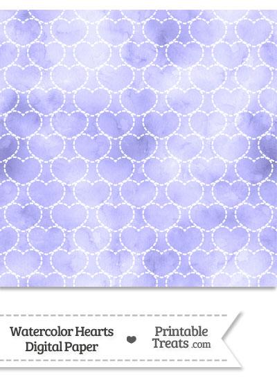 Purple Watercolor Hearts Digital Scrapbook Paper from PrintableTreats.com