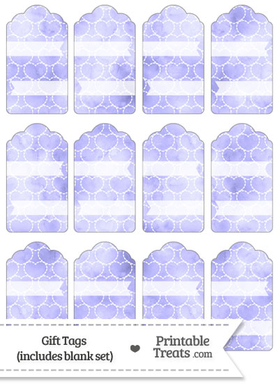 Purple Watercolor Hearts Gift Tags from PrintableTreats.com