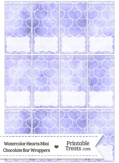 Purple Watercolor Hearts Mini Chocolate Bar Wrappers from PrintableTreats.com
