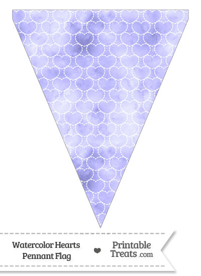 Purple Watercolor Hearts Pennant Banner Flag from PrintableTreats.com