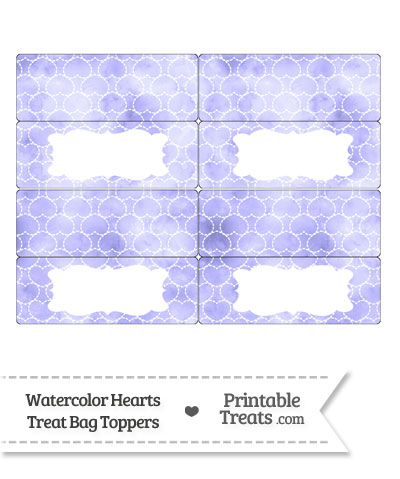 Purple Watercolor Hearts Treat Bag Toppers from PrintableTreats.com