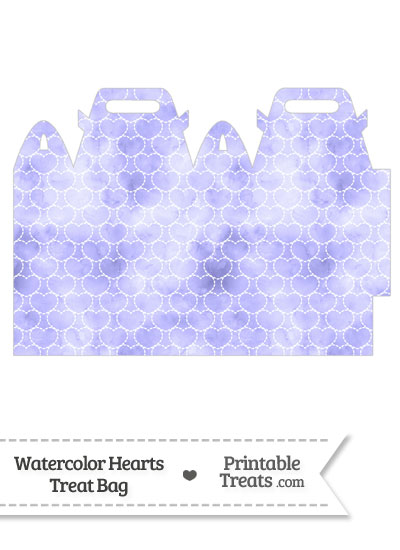 Purple Watercolor Hearts Treat Bag from PrintableTreats.com