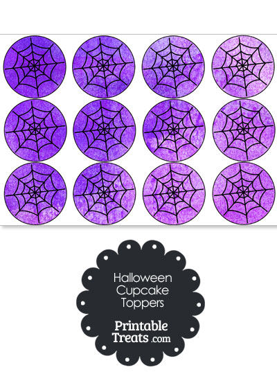 Purple Watercolor Spider Web Cupcake Toppers from PrintableTreats.com