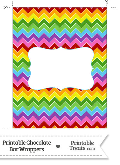 Rainbow Chevron Chocolate Bar Wrappers from PrintableTreats.com