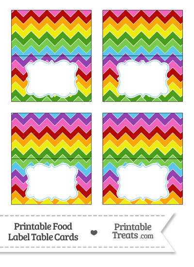 Rainbow Chevron Food Labels from PrintableTreats.com