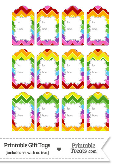 Rainbow Chevron Gift Tags from PrintableTreats.com