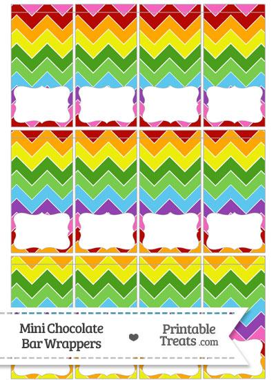 Rainbow Chevron Mini Chocolate Bar Wrappers from PrintableTreats.com