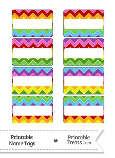 Rainbow Chevron Name Tags from PrintableTreats.com