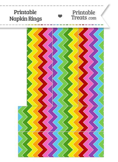Rainbow Chevron Napkin Rings from PrintableTreats.com
