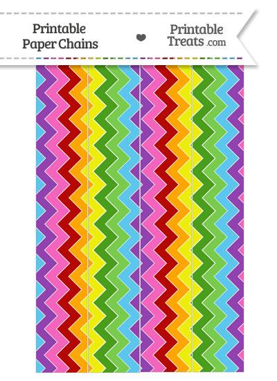 Rainbow Chevron Paper Chains from PrintableTreats.com