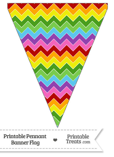 Rainbow Chevron Pennant Banner Flag from PrintableTreats.com