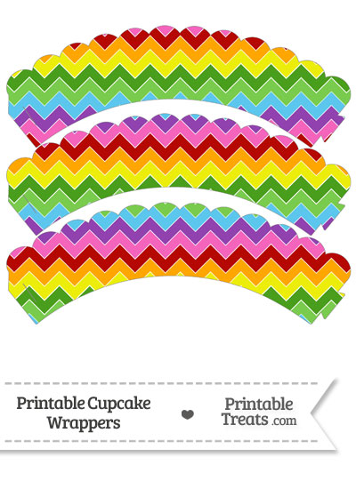 Rainbow Chevron Scalloped Cupcake Wrappers from PrintableTreats.com