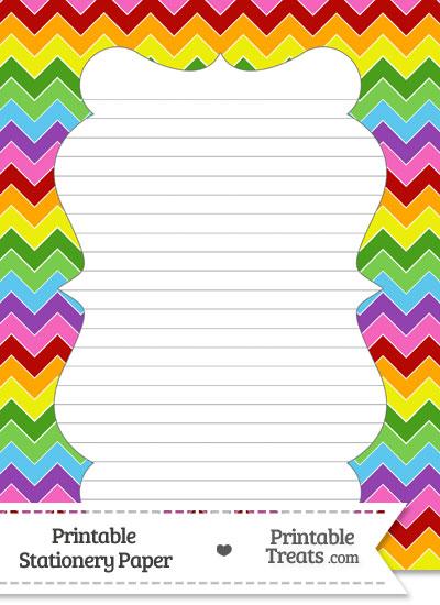 Rainbow Chevron Stationery Paper from PrintableTreats.com