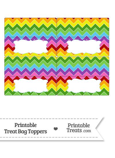Rainbow Chevron Treat Bag Toppers from PrintableTreats.com
