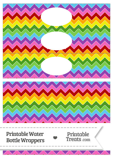 Rainbow Chevron Water Bottle Wrappers from PrintableTreats.com