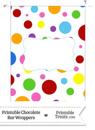 Rainbow Dots Chocolate Bar Wrappers from PrintableTreats.com