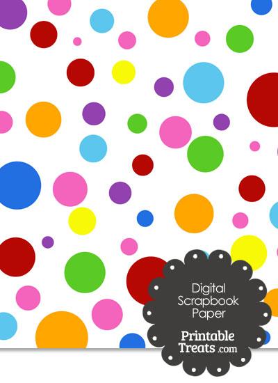 Rainbow Dots Digital Scrapbook Paper from PrintableTreats.com