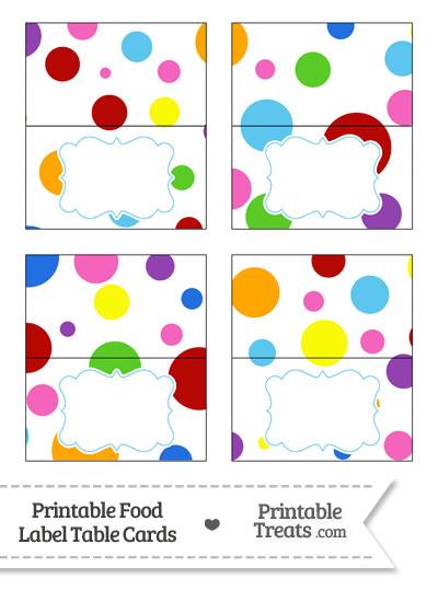 Rainbow Dots Food Labels from PrintableTreats.com