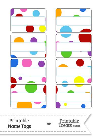 Rainbow Dots Name Tags from PrintableTreats.com