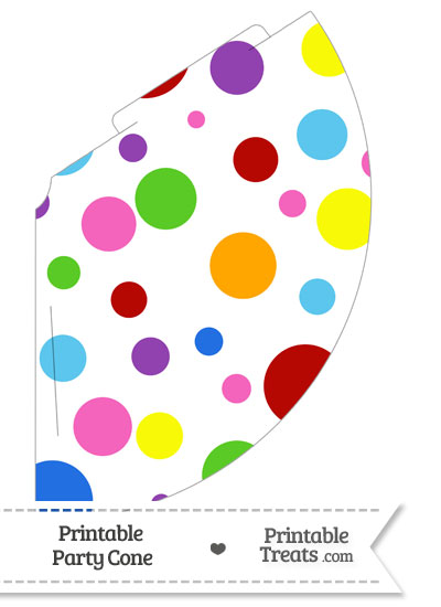 Rainbow Dots Party Cone from PrintableTreats.com