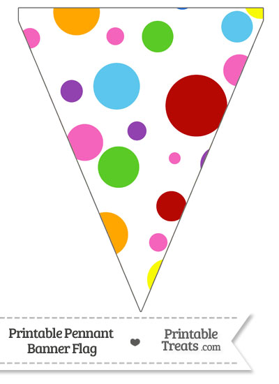 Rainbow Dots Pennant Banner Flag from PrintableTreats.com