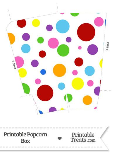 Rainbow Dots Popcorn Box from PrintableTreats.com