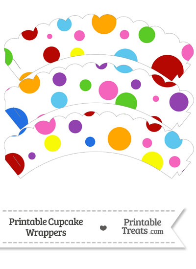 Rainbow Dots Scalloped Cupcake Wrappers from PrintableTreats.com