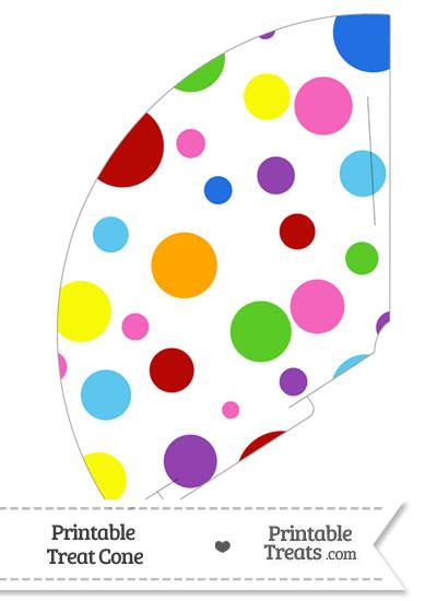 Rainbow Dots Treat Cone from PrintableTreats.com