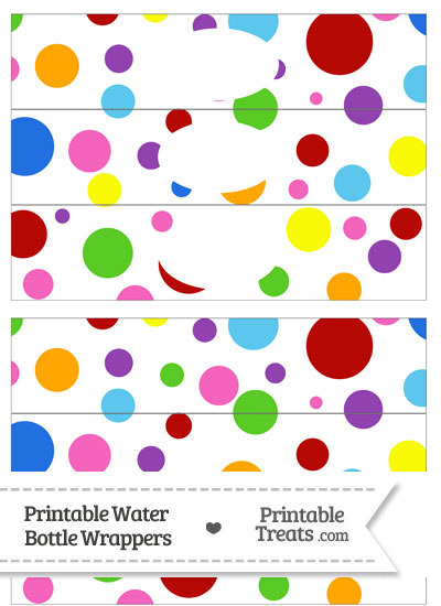 Rainbow Dots Water Bottle Wrappers from PrintableTreats.com