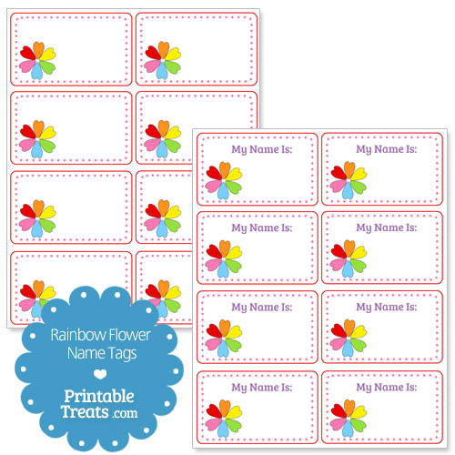 rainbow flower name tags