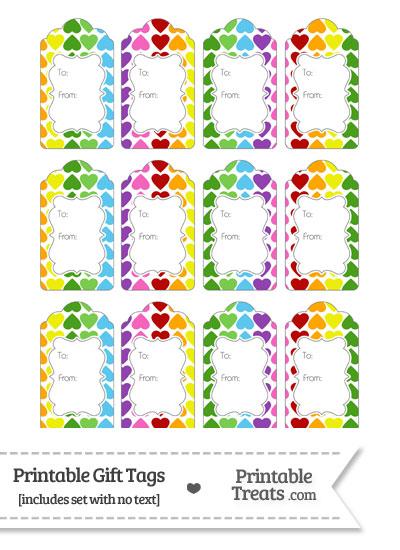 Rainbow Hearts Gift Tags from PrintableTreats.com