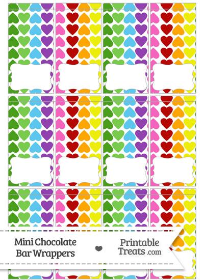 Rainbow Hearts Mini Chocolate Bar Wrappers from PrintableTreats.com