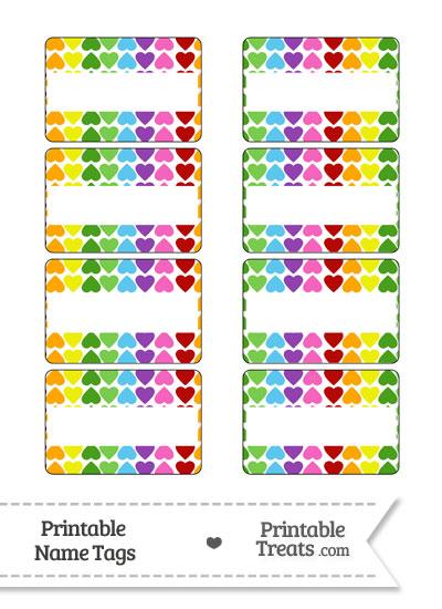 Rainbow Hearts Name Tags from PrintableTreats.com