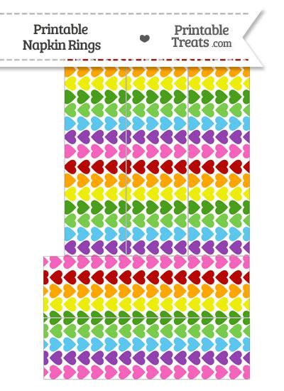 Rainbow Hearts Napkin Rings from PrintableTreats.com