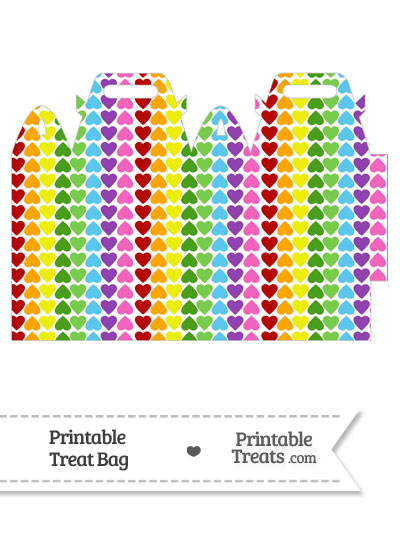 Rainbow Hearts Treat Bag from PrintableTreats.com