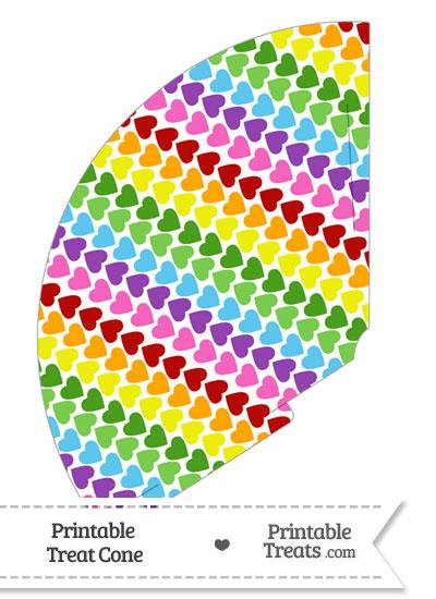 Rainbow Hearts Treat Cone from PrintableTreats.com