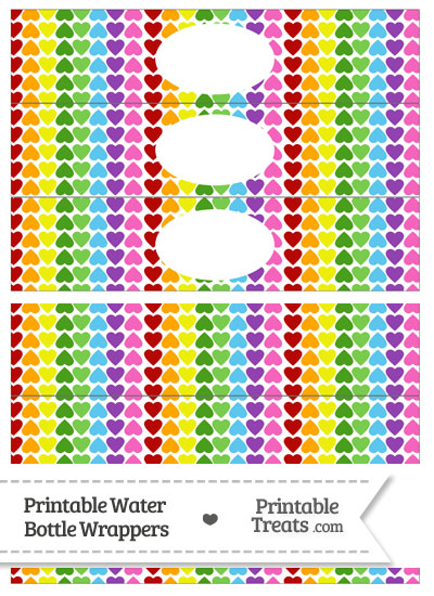 Rainbow Hearts Water Bottle Wrappers from PrintableTreats.com
