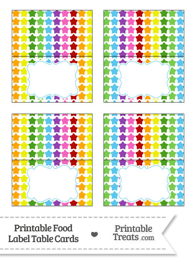 Rainbow Stars Food Labels from PrintableTreats.com