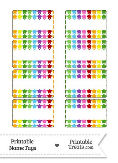 Rainbow Stars Name Tags from PrintableTreats.com
