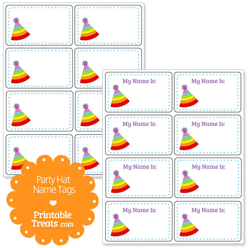 rainbow stripe party hat name tags