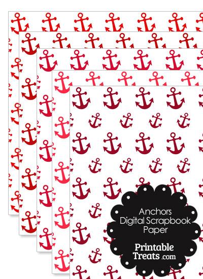 Red Anchor Digital Scrapbook Paper from PrintableTreats.com