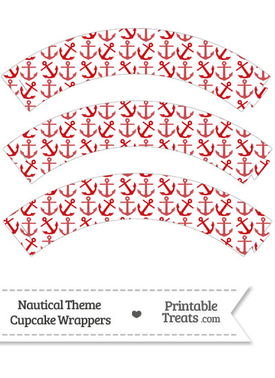 Red Anchors Cupcake Wrappers from PrintableTreats.com