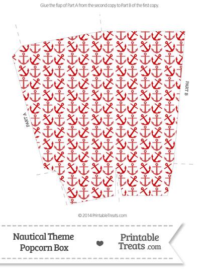 Red Anchors Popcorn Box from PrintableTreats.com