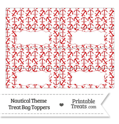 Red Anchors Treat Bag Toppers from PrintableTreats.com