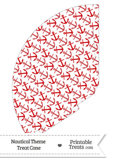 Red Anchors Treat Cone from PrintableTreats.com