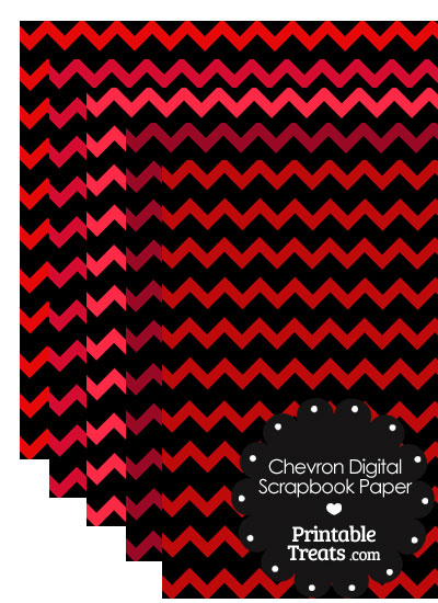 Red and Black Chevron Digital Scrapbook Paper from PrintableTreats.com