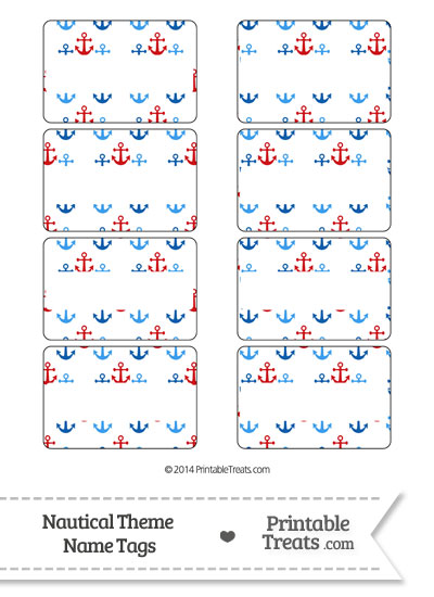Red and Blue Anchors Name Tags from PrintableTreats.com