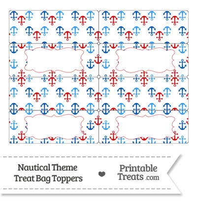 Red and Blue Anchors Treat Bag Toppers from PrintableTreats.com